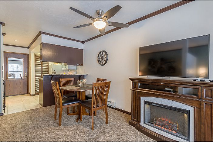 Dining area,electric fireplace