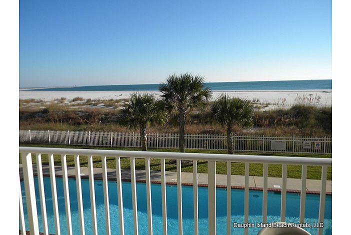Large balcony views Gulf and Pool
