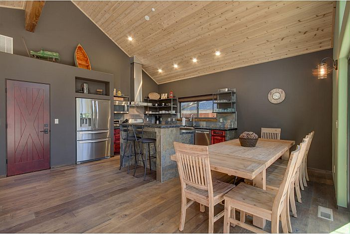 Custom gourmet kitchen adjacent to the spacious dining area