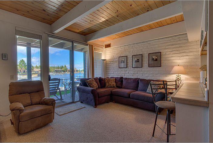 Cozy living room overlooks the marina