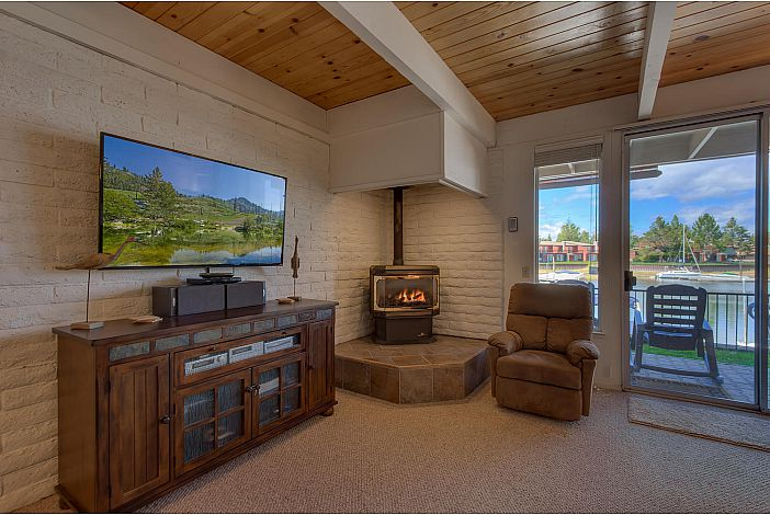 Gas fireplace adjacent to the Smart Flatscreen TV