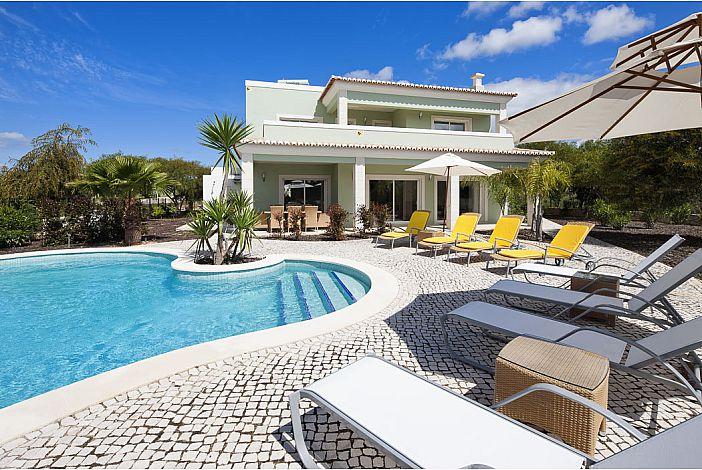 Pool terrace  and villa