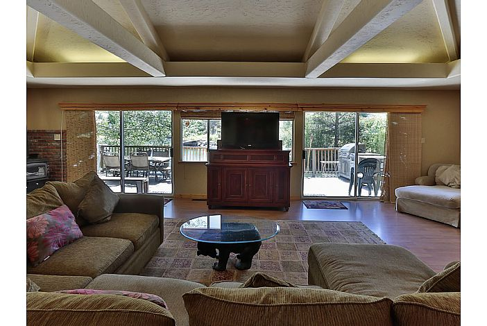 Living room with deck view