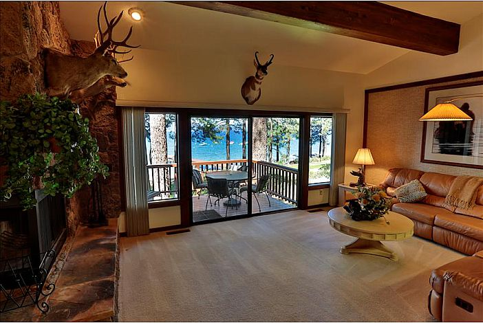 Living room with a great view of Lake Tahoe
