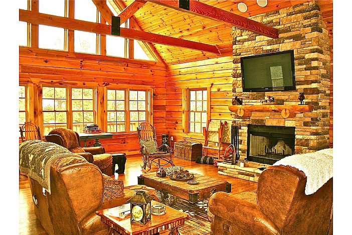 Great Room with Wood Burning Fireplace