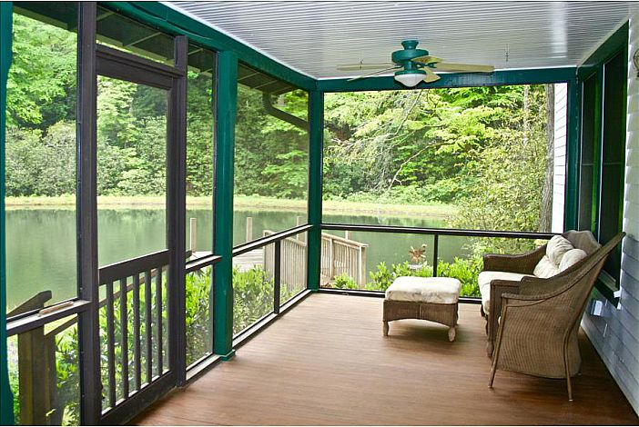 Large Covered and Screened Porch Overlooking Pond