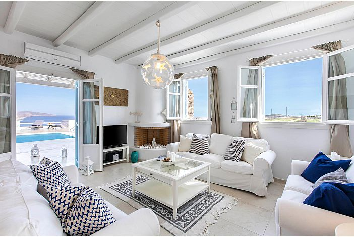 Sunshine Villa Mykonos living room with fireplace