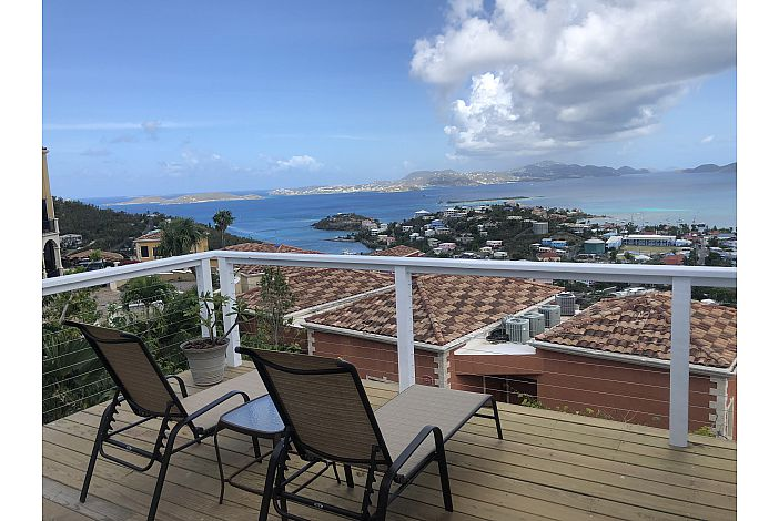 Deck overlooking the ocean, Cruz Bay Town