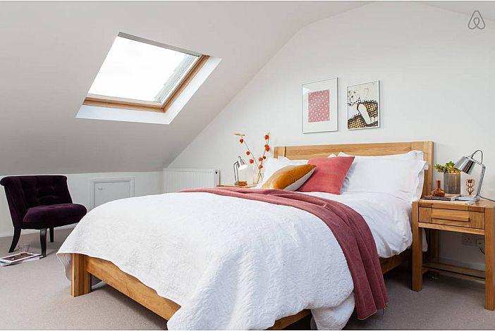 Spacious, bright modern bedroom