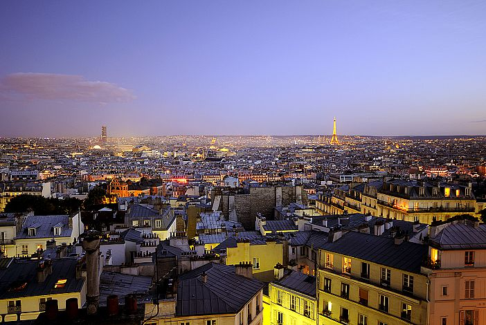 Actual view of Paris from the terrace at night