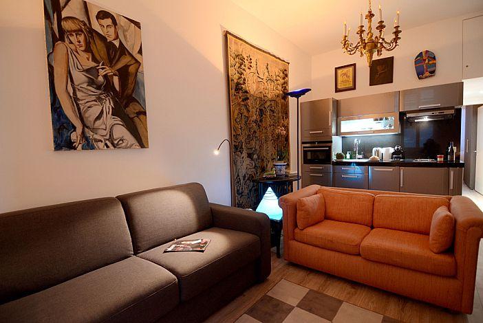 Comfortable sofas and modern artwork