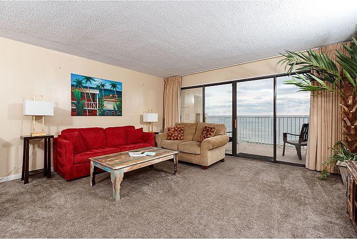 Living area hosts sleeper sofa
