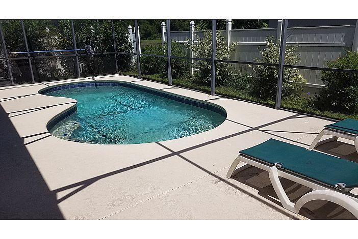 private, fenced pool area