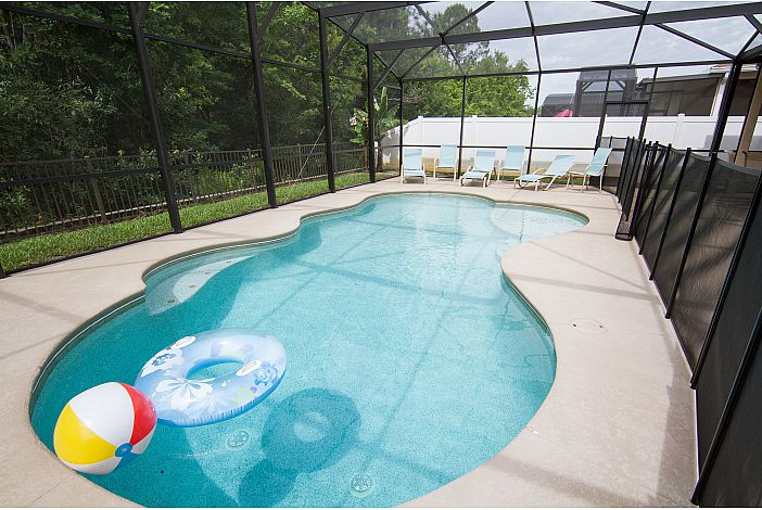 private, southfacing Pool, wooded view