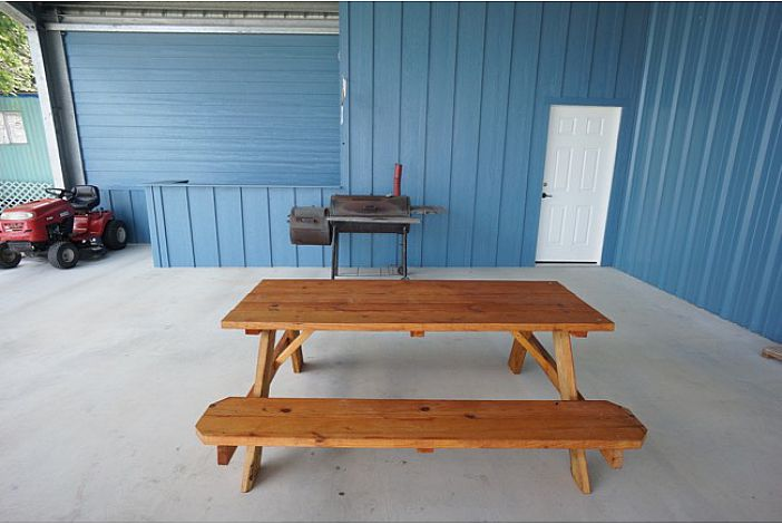 Picnic Table and Charcoal Grill