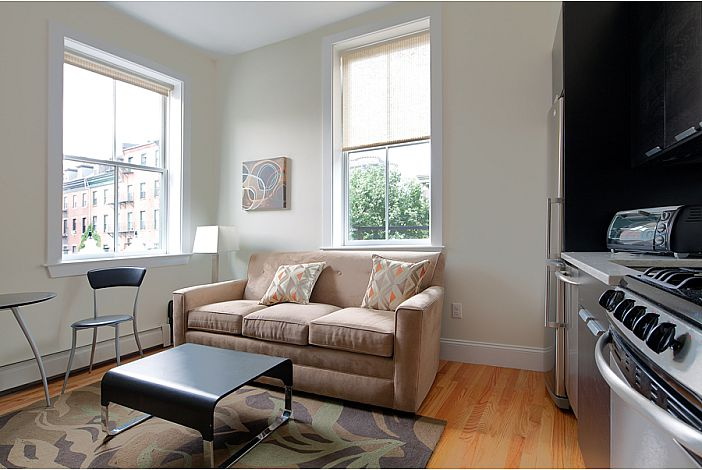 Living Room & Kitchen - South End Rental, Boston