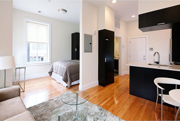 Living Area with Bed in Background - Boston Rental