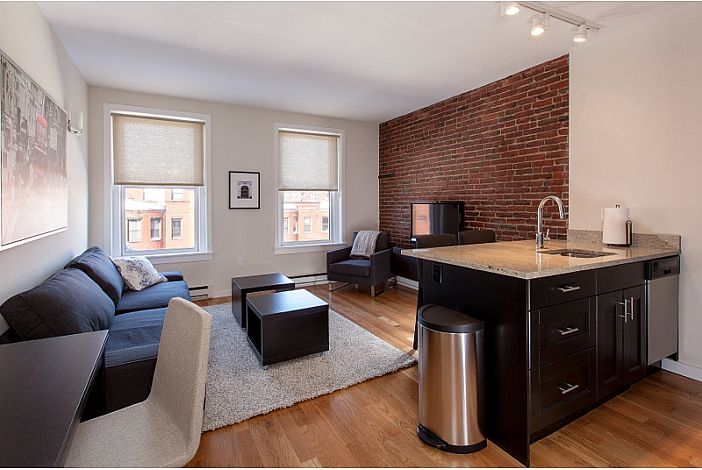 Living Room & Kitchen - Boston Rental, Back Bay
