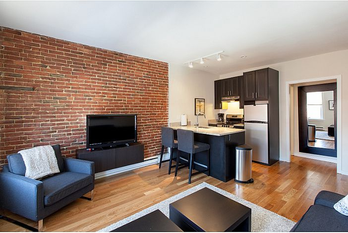 Living Room and Kitchen - Boston Rental, Back Bay