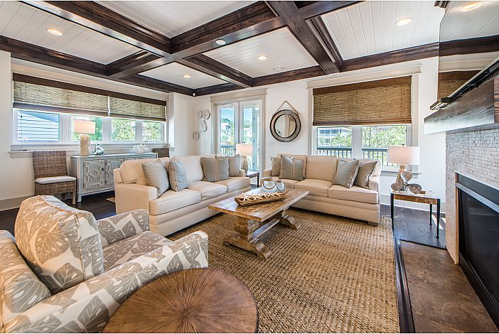 Beautiful Coffered and Shiplap Ceiling
