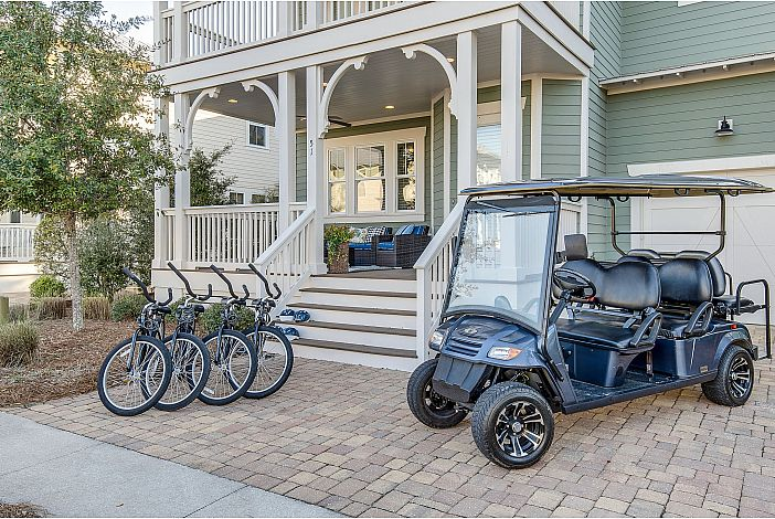 4 Bikes and 6-Seater Golf Cart Included!