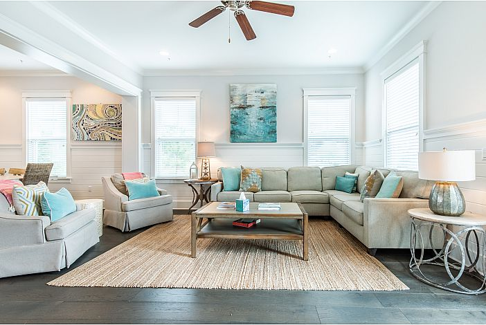 Spacious Family Room with Coastal Decor