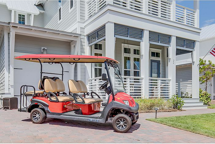 Features a Street Legal 6 Seater Golf Cart