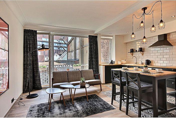 Luminous living room with balcony